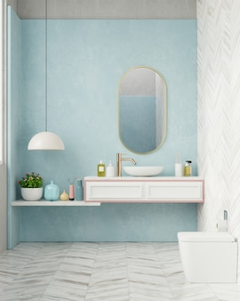 水色の壁とモダンなバスルーム