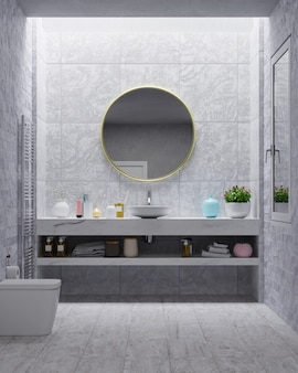 Modern bathroom with cement wall.