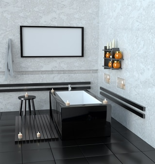 Modern bathroom with ceramic bath with candles.