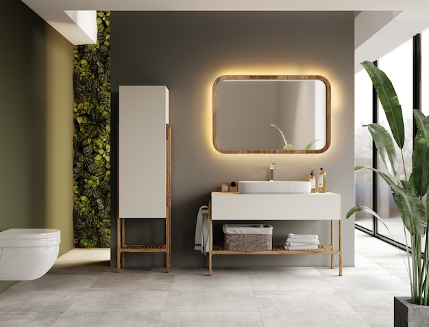 Modern bathroom with furniture and plants
