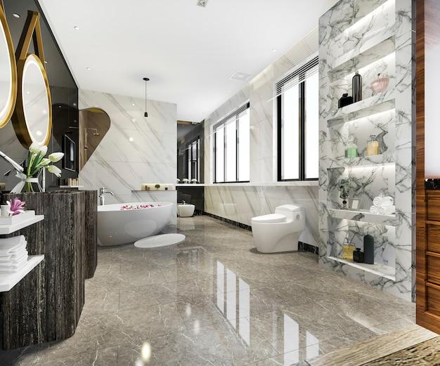 Modern bathroom with luxury tile decor