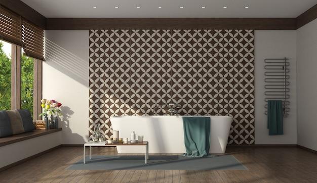 Современная ванная комната с минималистской ванной и кафельной стеной - 3d-рендеринг