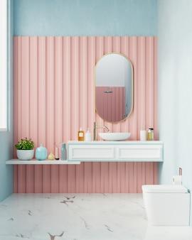 Современная ванная комната с розовой стеной.