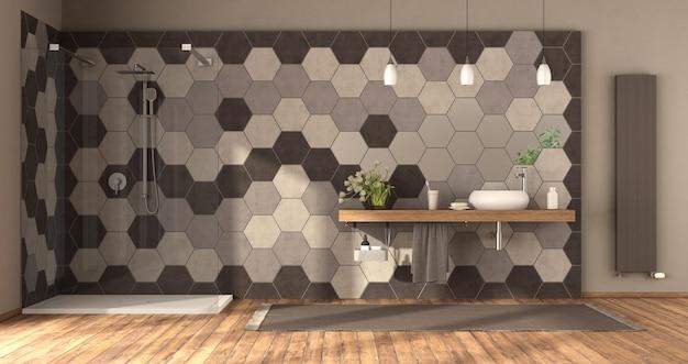 Современная ванная комната с душем, умывальником на деревянной полке и стеной из шестиугольной плитки -3d-рендеринг