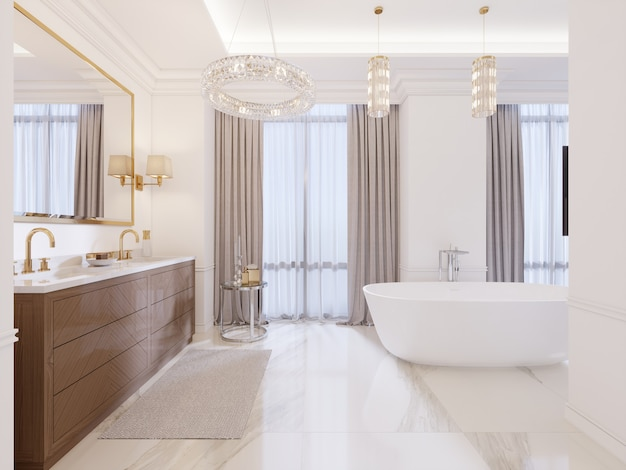 Modern bathroom with vanity and a mirror in a gold frame with sconces on the wall, a low table with decor, shower and a fashionable bath. 3d rendering.