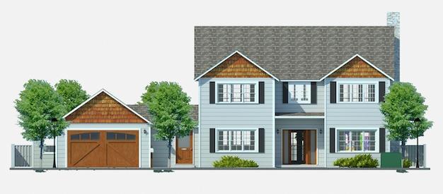 Современный красивый дом. 3d иллюстрации