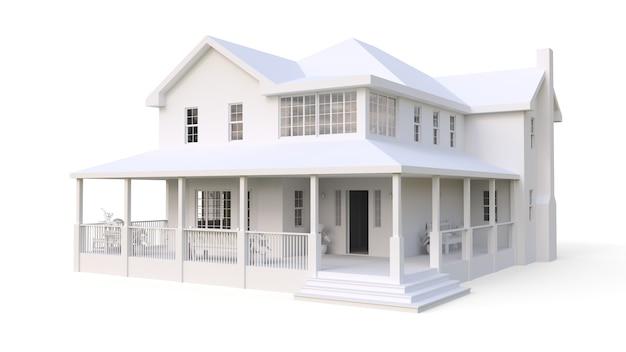 Современный красивый дом. классический американский коттедж для большой семьи. 3d иллюстрации