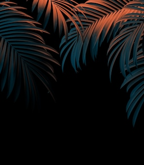 Modern beautiful palm leaves template isolated on black background for poster or booklet design. 3d illustration