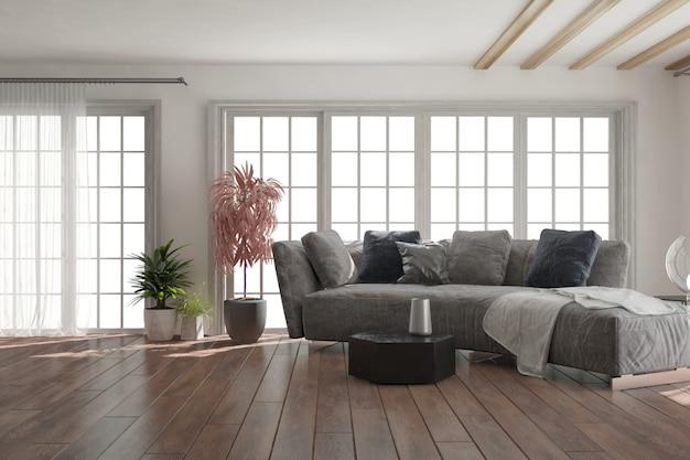 현대적인 아름다운 방 인테리어 디자인 3d 그림