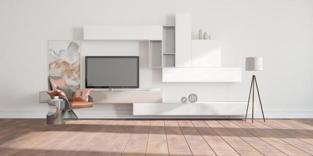 Modern beautiful room interior design 3d illustration