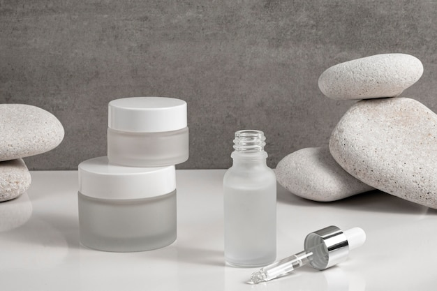 Modern beauty products in different recipients