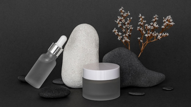 Modern beauty products in recipients arrangement