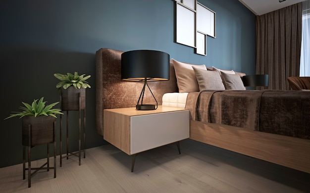 A modern bed with a soft headboard with a night table, a lamp and flowerpots near. 3d rendering.