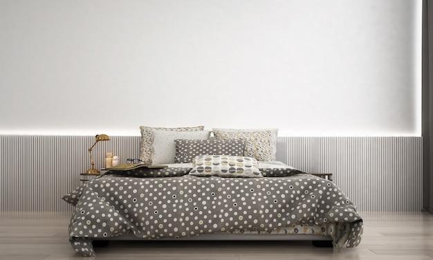 モダンなベッドルームとスタイルのインテリアデザインと白い壁