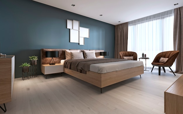 Modern bedroom in dark colors. 3d rendering