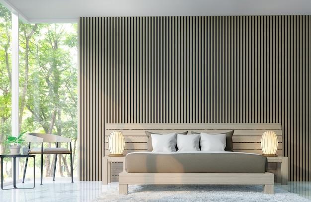 モダンなベッドルームは木製の格子3dレンダリングで壁を飾ります
