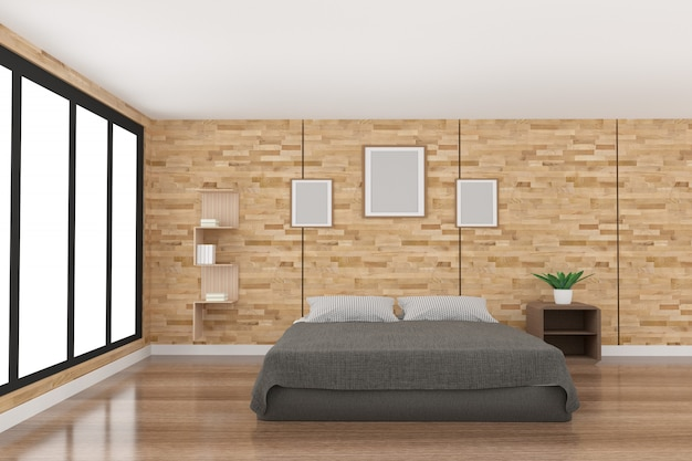 Modern bedroom decoration in parquet wood design with light from black window in 3d rendering