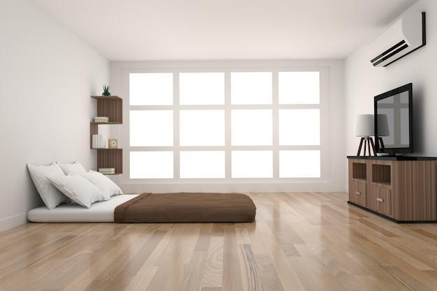 Modern bedroom decoration in parquet wood design with light from window in 3d rendering