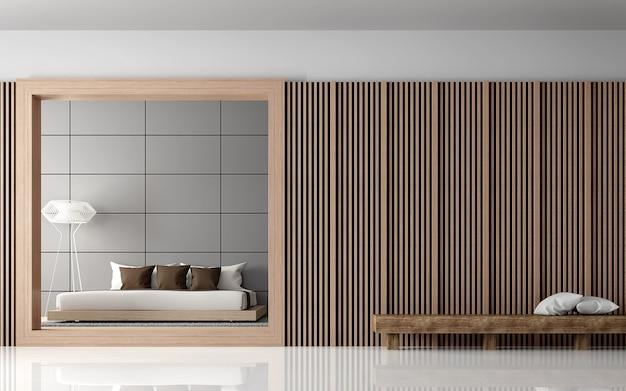 현대적인 침실 인테리어 3d 렌더 뷰는 방 앞에서 나무 격자로 장식된 벽이 있습니다.