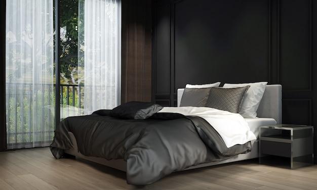 モダンなベッドルームのインテリアデザインと黒のテクスチャ壁の背景