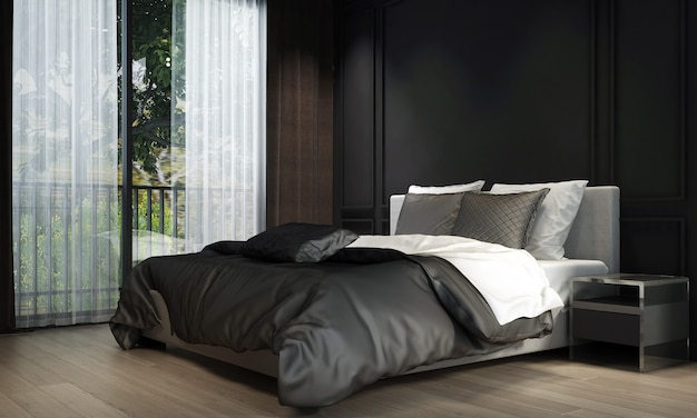 Modern bedroom interior design and black texture wall background