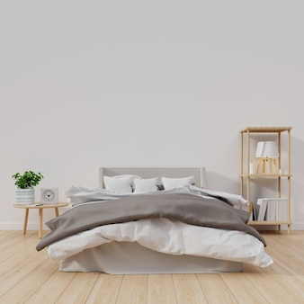 Modern bedroom interior design with white wall have flower and lamp on shelf,3d rendering