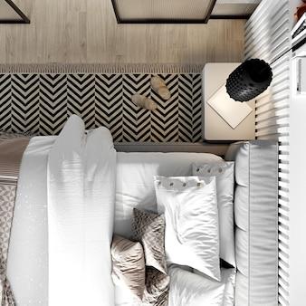 Современный интерьер спальни в африканском стиле. 3d-рендеринг. вид сверху.