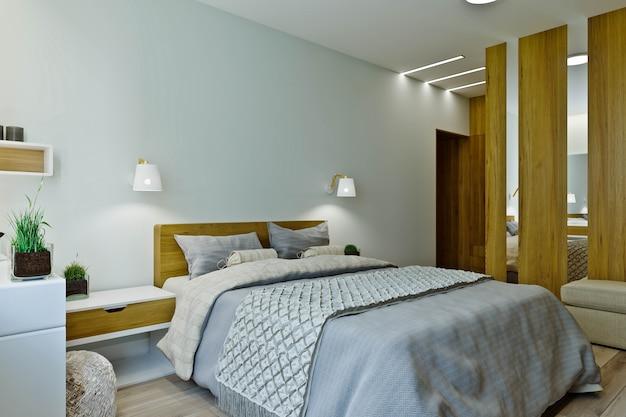 木製の羽目板が付いている暖色系のモダンな寝室のインテリア