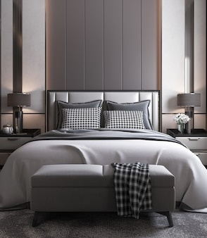 Modern bedroom interior mock up, grey bed on empty dark wall background, scandinavian style, 3d render