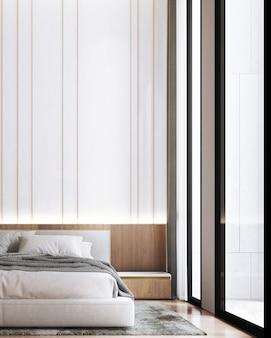 Макет интерьера современной спальни, серая кровать на фоне пустой белой стены, скандинавский стиль, 3d визуализация