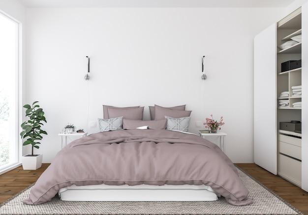 Modern bedroom, interior mockup, artwork display