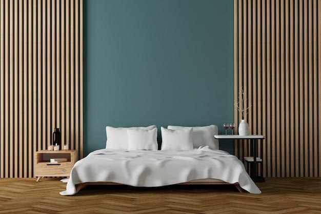 흰색 시트가있는 현대 침실 인테리어와 직립 목재 선반 벽 장식이있는 목재