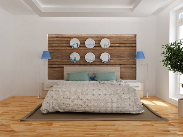 Modern bedroom interior with wooden decor in eco style