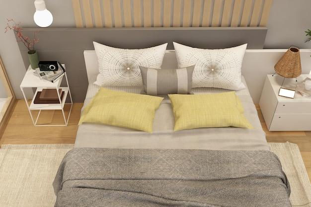 Современный интерьер спальни с деревянным декором в эко стиле
