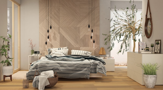 Modern bedroom interior with wooden panels in ecostyle.