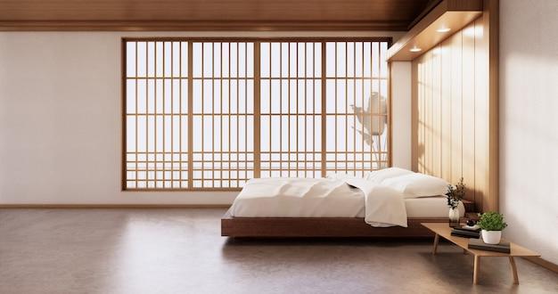モダンなベッドルーム-和風3dレンダリング