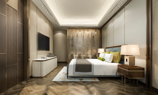 Modern bedroom suite in hotel with wardrobe and walk in closet with chinese style decor