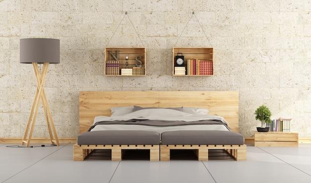 レンガの壁にベッドパレット付きのモダンなベッドルーム