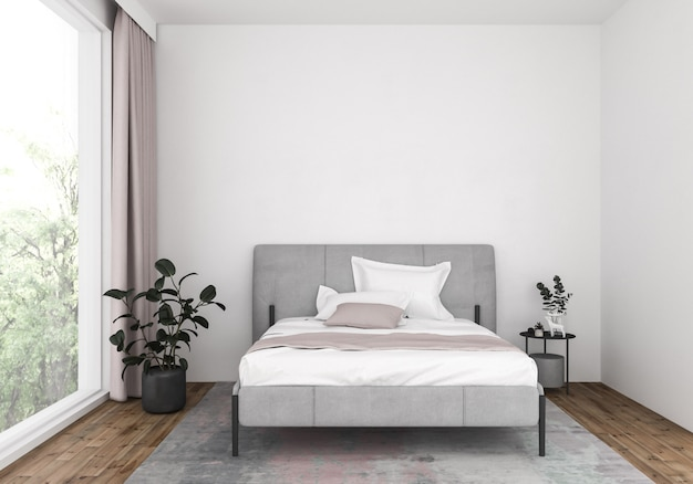 Modern bedroom with blank wall,artwork background.