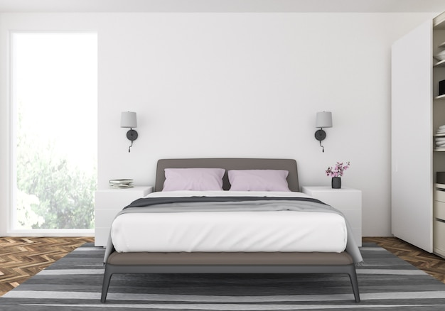 Modern bedroom with blank wall