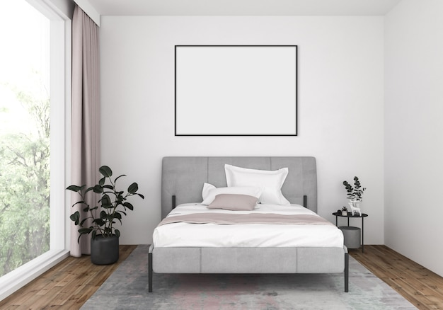 Modern bedroom with empty horizontal frame, artwork background.