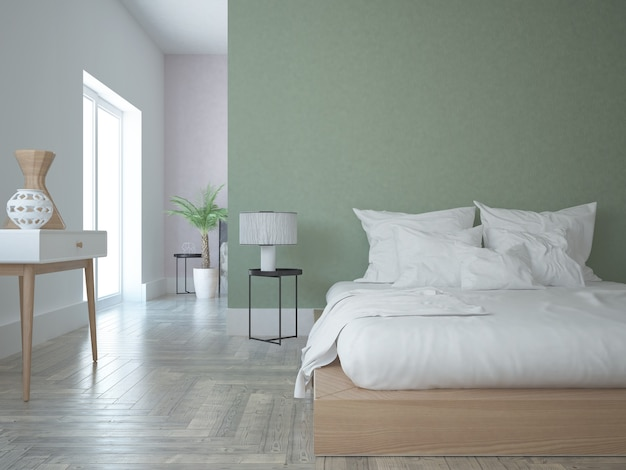 Modern bedroom with green and pink wall