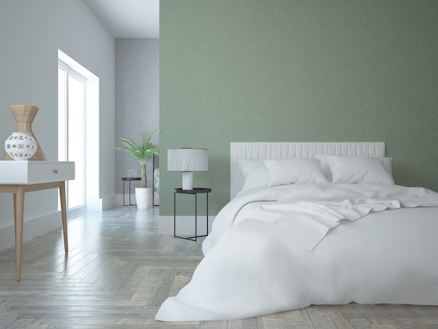 Modern bedroom with green wall