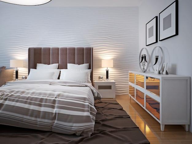 サイドボードデザインのモダンなベッドルーム。