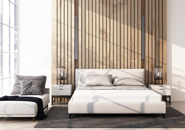 Современная спальня с деревянным полом и изголовьем кровати 3d-рендеринга