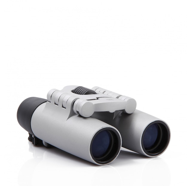 Modern binoculars on white