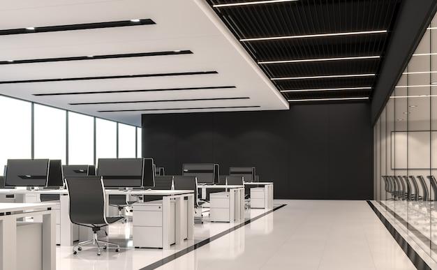 현대적인 흑백 사무실 3d 렌더링흰색 바닥검은색 강철과 흰색 페인트 천장이 있습니다.