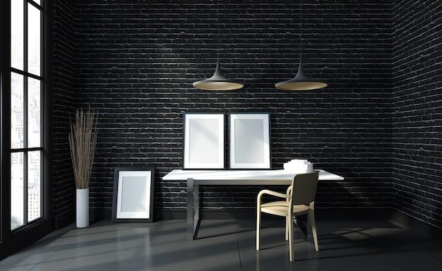 Современный черный рабочий стол рабочего стола макета