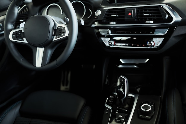 Modern black car dashboard interior