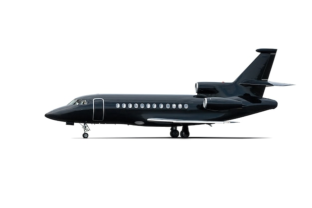 Modern black corporate business jet isolated on white background